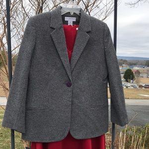 Sag Harbor Petite Women Gray Wool Lined Blazer 12P